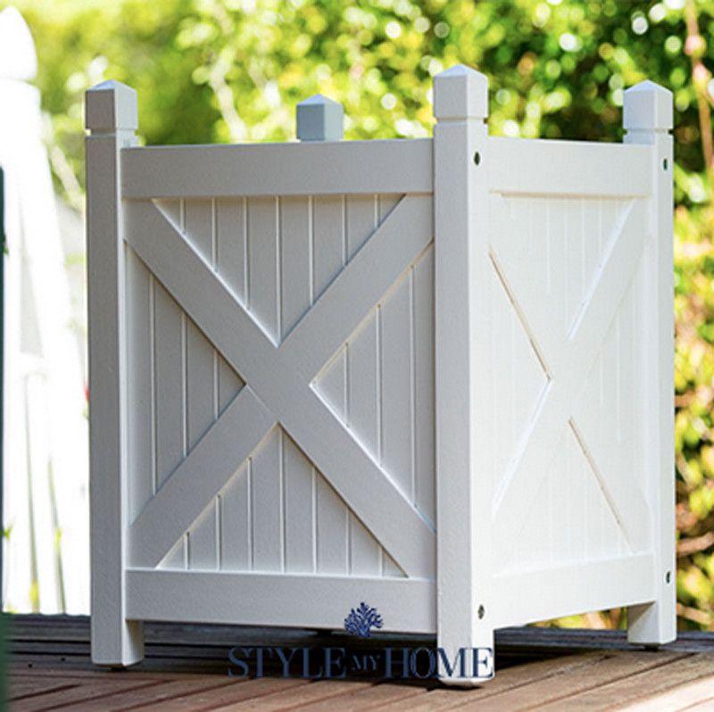 Decorative Wooden Boxes Australia : Hamptons beach white planter boxes style my home australia