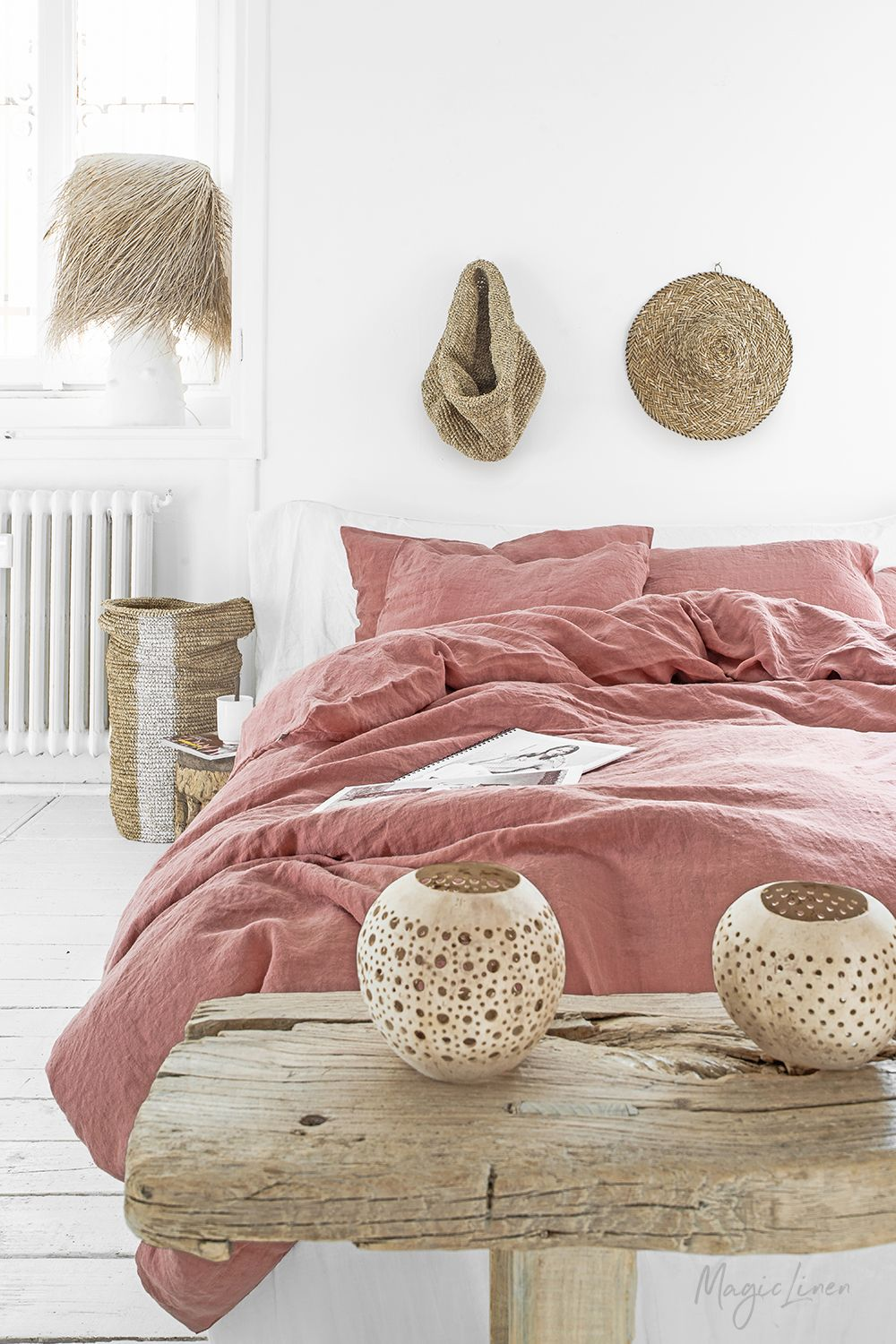Revitalize Your Bedroom With Rust Pink Linen Bedding This Subtle And Warm Color Dusty Undertones Will Create An Atmosphere That Screams Spring