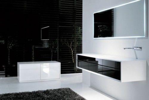diseo minimalista de cuarto de bao en blanco y negro