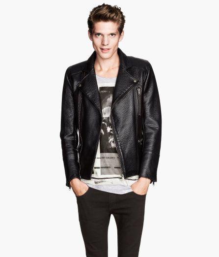 H M Biker Jacket 79 95 Leather Jacket Men Black Biker Jacket Jackets