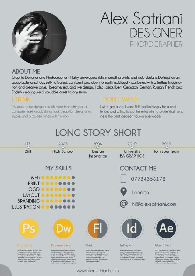 Resume  Like the heading long story short and I think I dont - short resume
