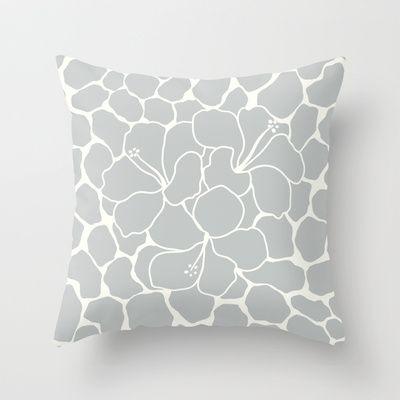 Hibiscus Flower Animal Print Light Grey  Throw Pillow by Eileen Paulino - $20.00