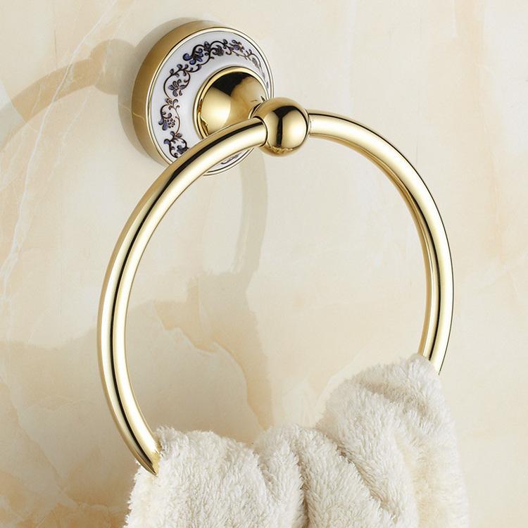 luxury bathroom gloden towel ring gold porcelain towel bar holder bathroom accessories towel rail