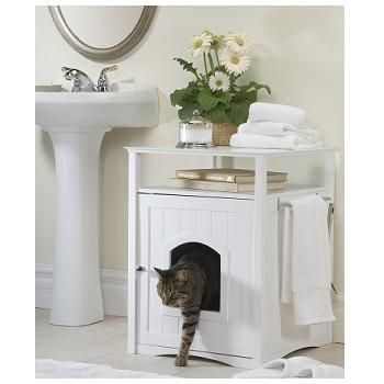 Merry Products Cat Washroom Night Stand & Pet House in White ...