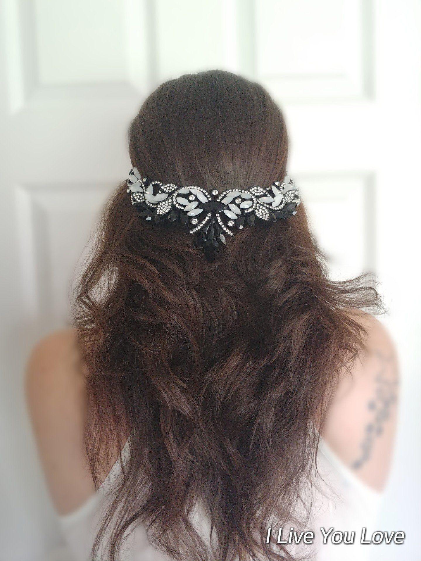 Gothic Black White Opal Bridal Hair Chain Bridal Hair Jewelry