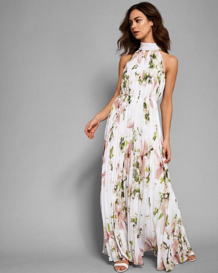 ae8e0fccd093 Harmony pleated maxi dress - White | Dresses | Ted Baker | BLUSH ...