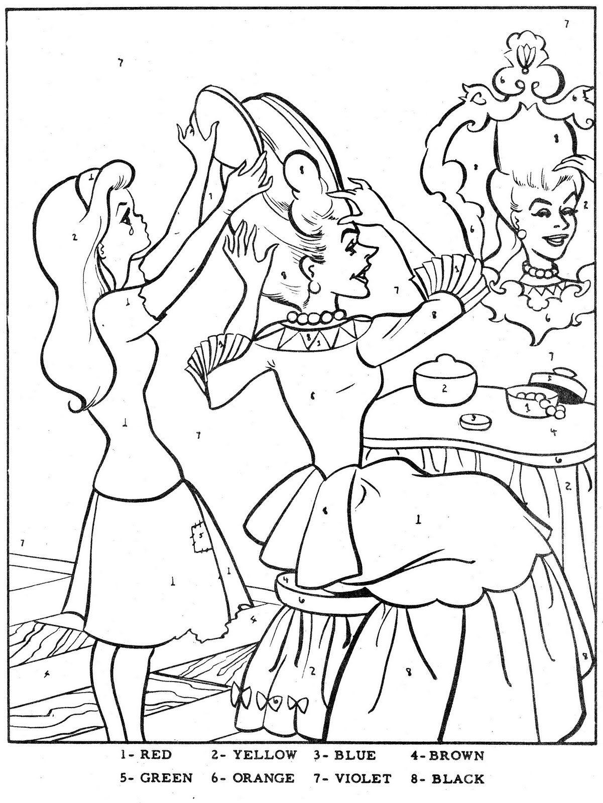 colornumbercinderella  cinderella coloring pages