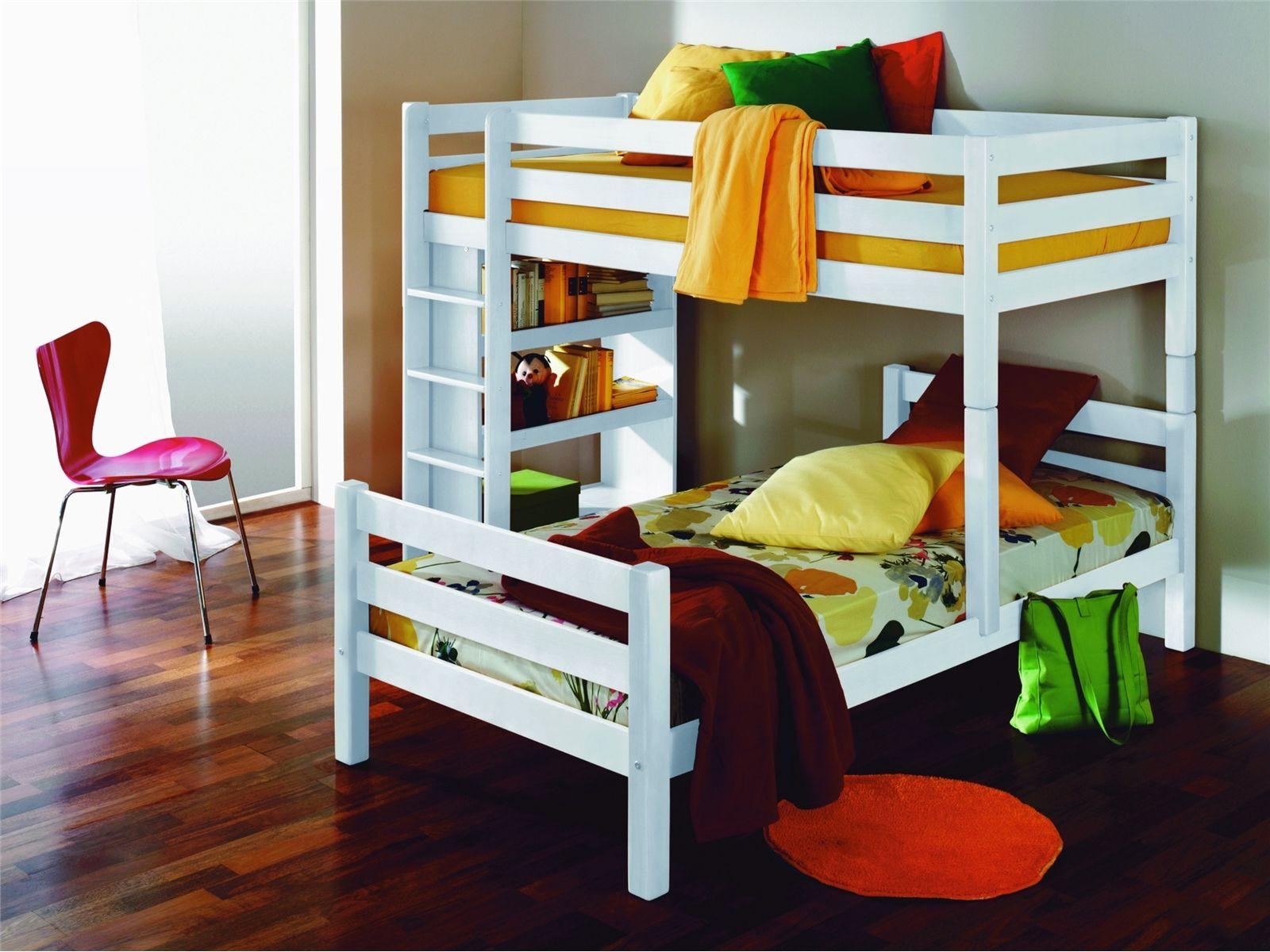 Etagenbett Weiss Buche Massiv : Weißes kinder etagenbett buche massiv cm teilbar auf