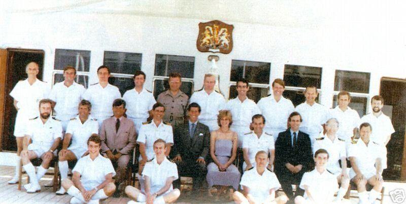 Prince Charles & Princess Diana with the Crew of Britannia on their honeymoon.