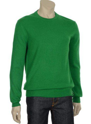 Bloomingdales Mens Bright Green Emerald Cashmere Crewneck