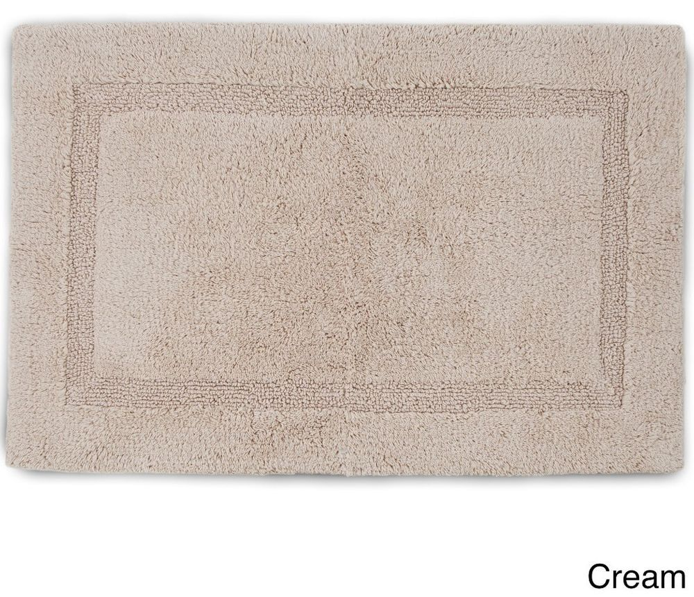 Cream Plush Cotton Tufted Bath Rug With Non Skid Latex Backing 20 X 30 Inches