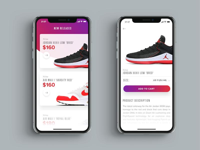 Sneakers Shopping UI   Mobile app ui   Mobile app ui, App ui