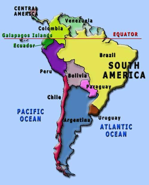 South America Map Equator Map of South America showing where Galapagos Islands are located