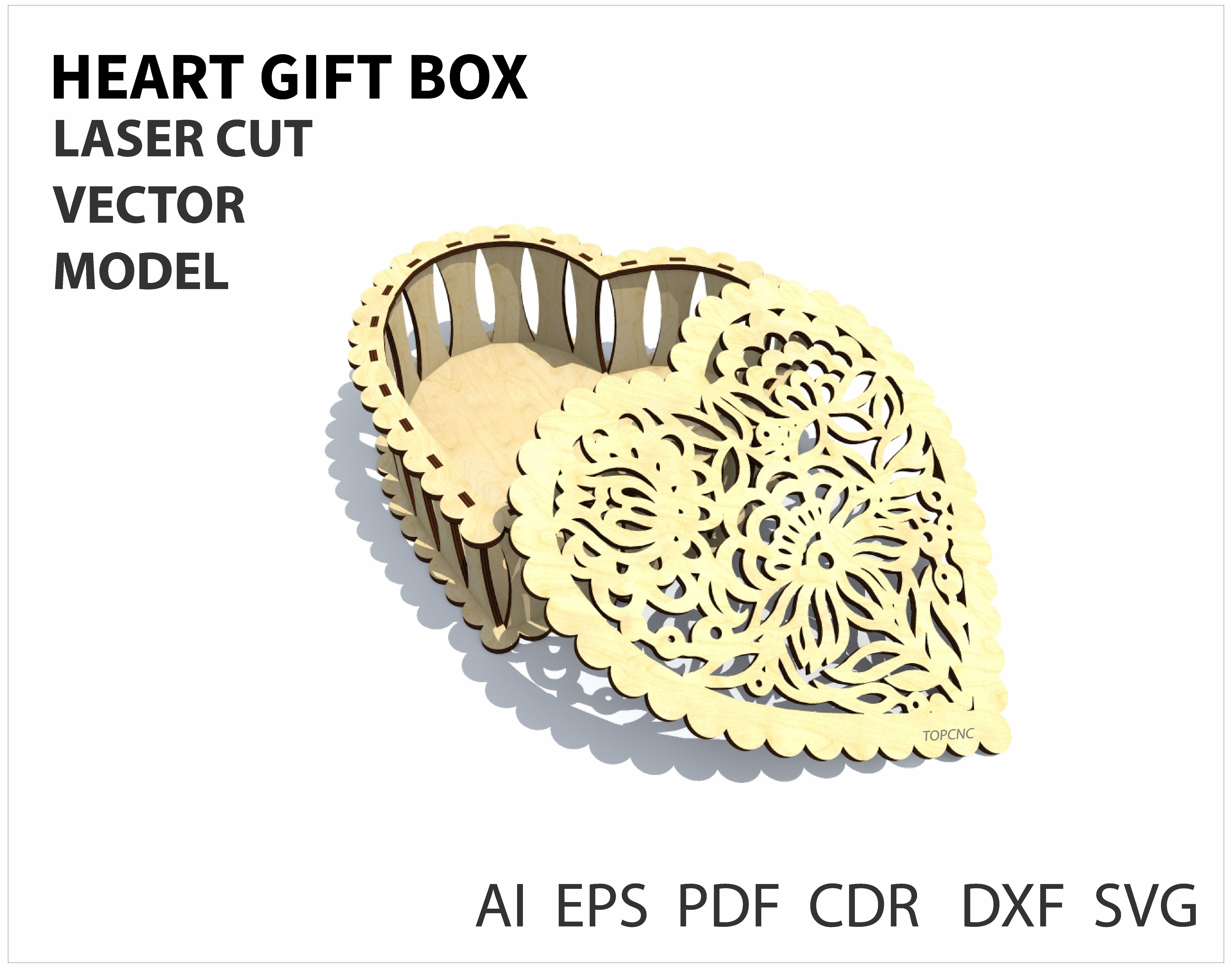 Geometric Heart Shaped Gift Box Plans for CNC Router Laser Cutting