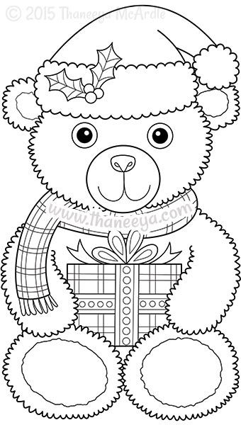 Color Christmas Coloring Book Teddy Bear Templates Pinterest