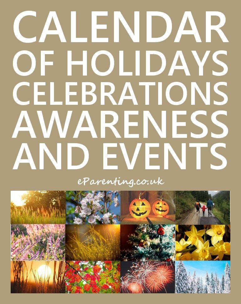 Calendar of Holidays, Celebrations, Awareness and Special