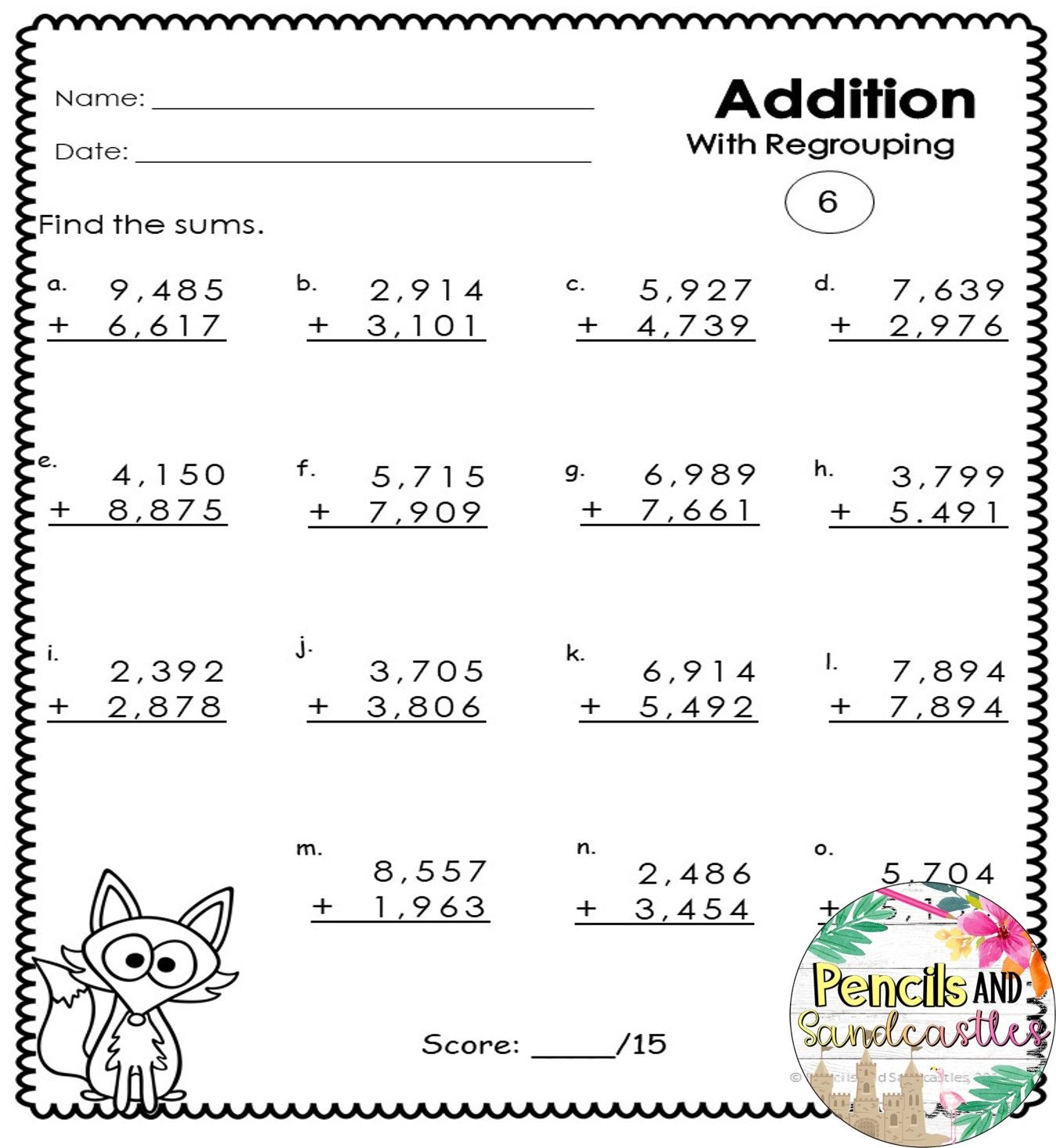 4 Digit Addition Regrouping And No Regrouping Worksheets