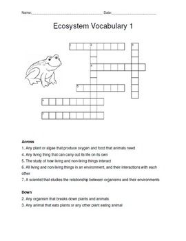 Ecosystem Vocabulary And Crossword Puzzle Vocabulary Vocabulary Worksheets Secondary Science Lessons