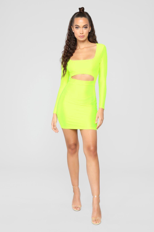 df1f1b9434b GNO Again Cutout Mini Dress - Neon Yellow in 2019 | FLUO | Neon ...