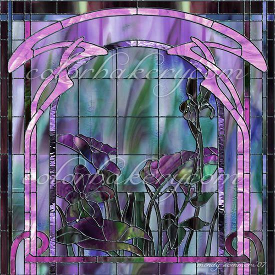 Art nouveau stained glass window panel art deco stained for Art deco glass windows