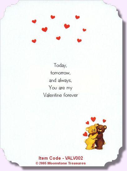 Valentine Verse VALV001 Card Verses Pinterest – Valentines Card Poems