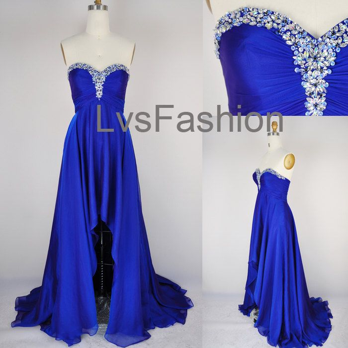 A Line Strapless Sweetheart With Crystal Front Short Long Back Chiffon Prom Dresses, Evening Gown, Evening Dresses, Party Dresses. $165.00, via Etsy.