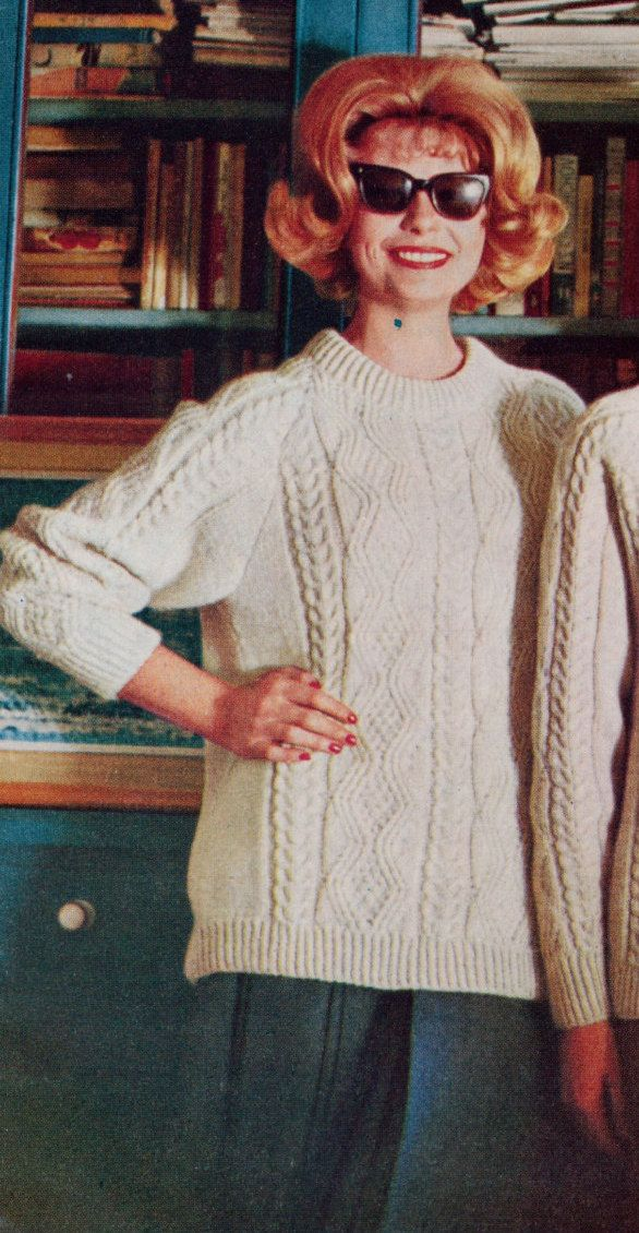 3 Vintage knitting patterns from the 1960s- Check skirt and Aran ...