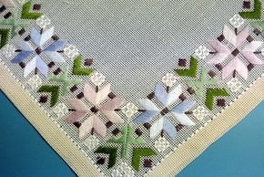 Vintage 1960s handmade green flat-seam embroidery linen tablet table-cloth with pastel blue/ pink/ green pattern on light beige bottomcolor