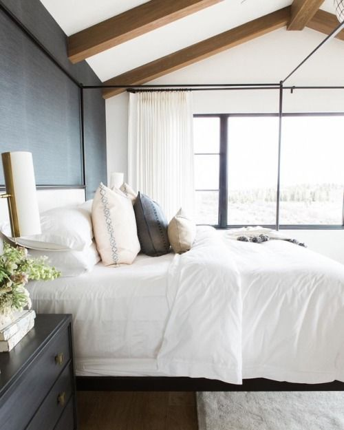 Accent Wall Behind Bed Beam: Dark Accent Walls, Ceiling Beams, Large Windows