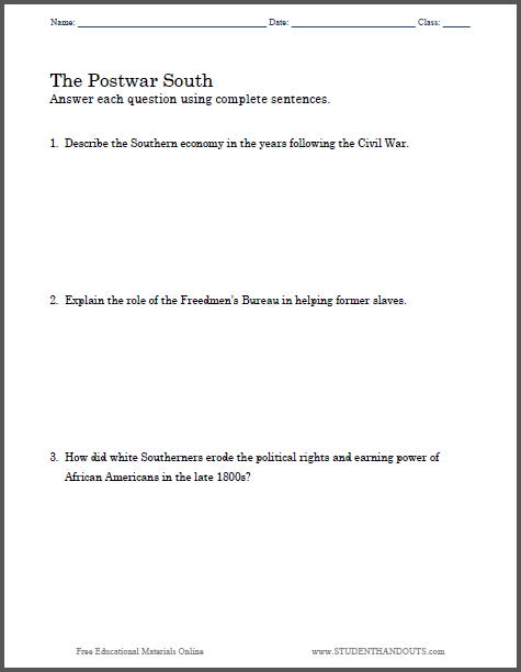 postwar south essay questions to print pdf file for high  three branches of government essay questions to print pdf file great pre test for american government classes
