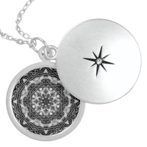 Black+and+White+Mandala+Locket+Pendant+Necklace