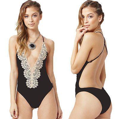 2981b6b81b Crochet Thong Lace One Piece Swimsuit Strappy High Waist Swimwear Women  Bodysuit Bathing Suits Monokinis