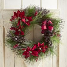 Buffalo Plaid Faux Poinsettia Oversized 28 Wreath Christmas Wreaths With Lights Christmas Door Decorations Christmas Wreaths