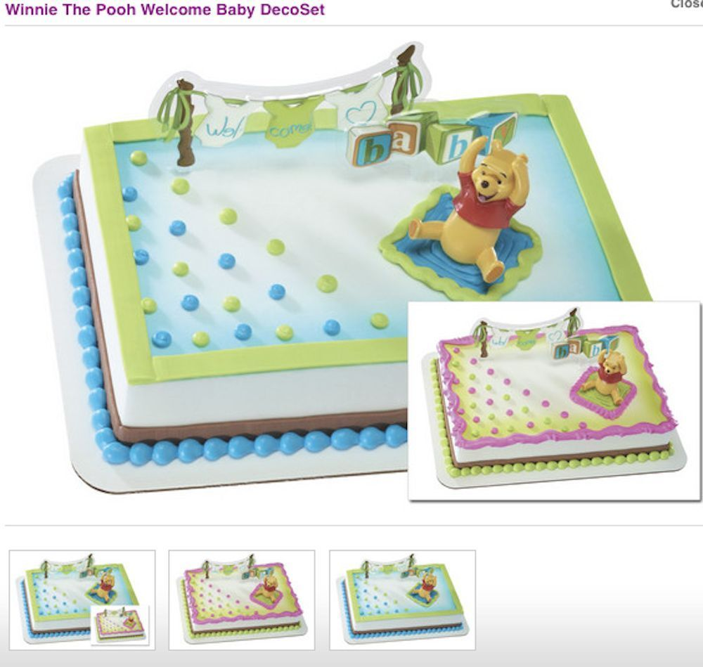 Disney Winnie the Pooh Welcome Baby Cake Decoration Kit Topper Babyshower #Wilton #BabyShowerParty