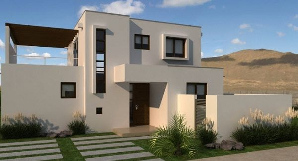 Plano moderna casa de dos pisos de mas de 130 m2 planos for Frentes de casas modernas de dos pisos