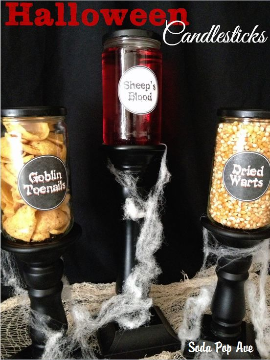 Halloween Candlesticks - Goblin Toenails, Sheep's Blood, and Dried Warts.  www.SodaPopAve.com