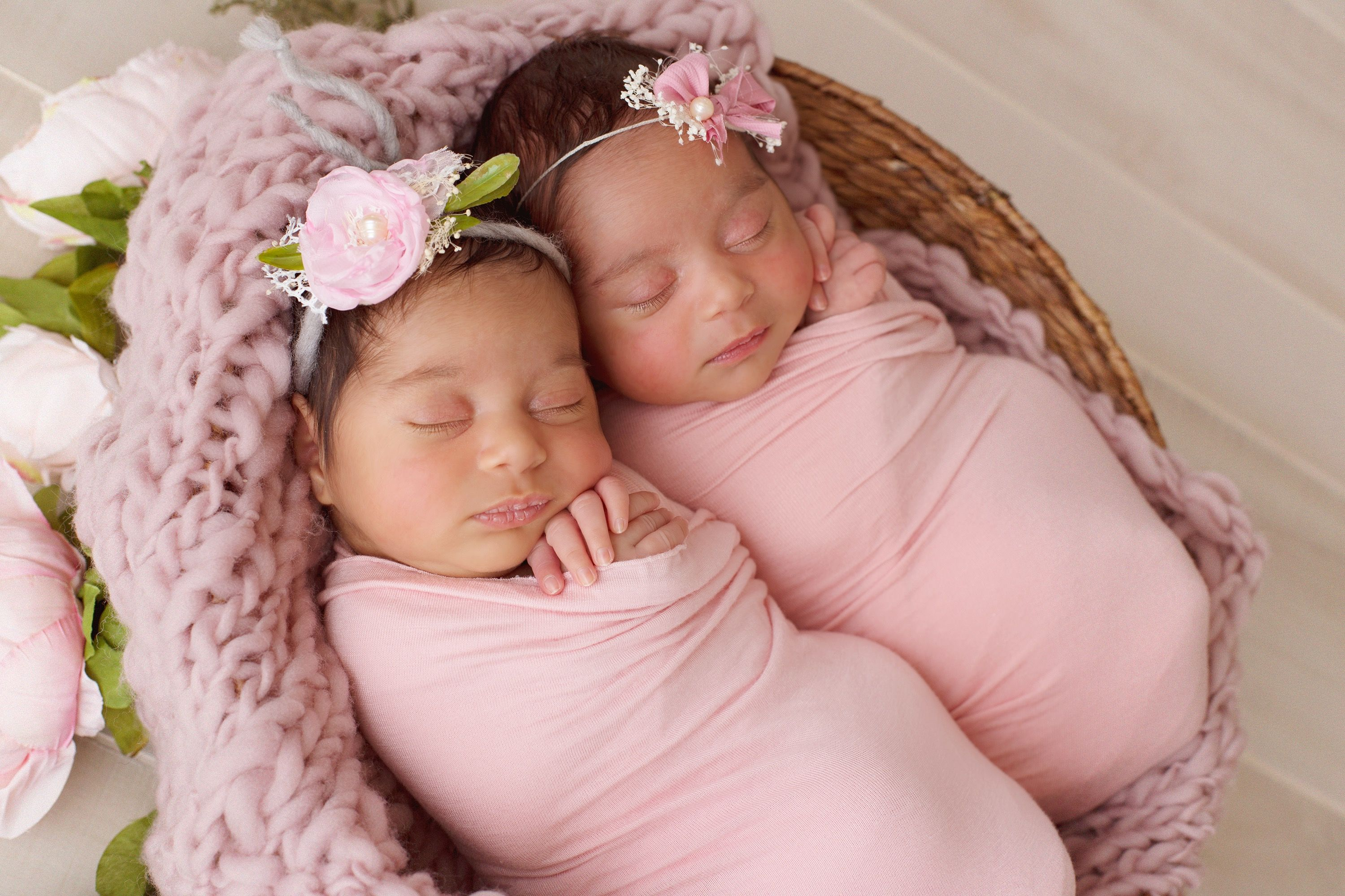 Cypress tx newborn photography twin newborns multiple birth newborn baby girl pictures photography session pink flowers