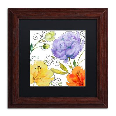 "Trademark Art 'Rhapsody I' Framed Painting Print Size: 11"" H x 11"" W x 0.5"" D, Mat Color: Black"