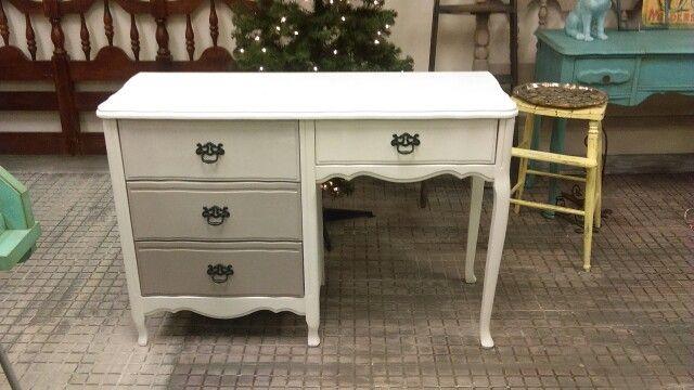 Ombre Desk Warm Gray, White, Black Dizzy Miss Lizzie, South Glens Falls Ny