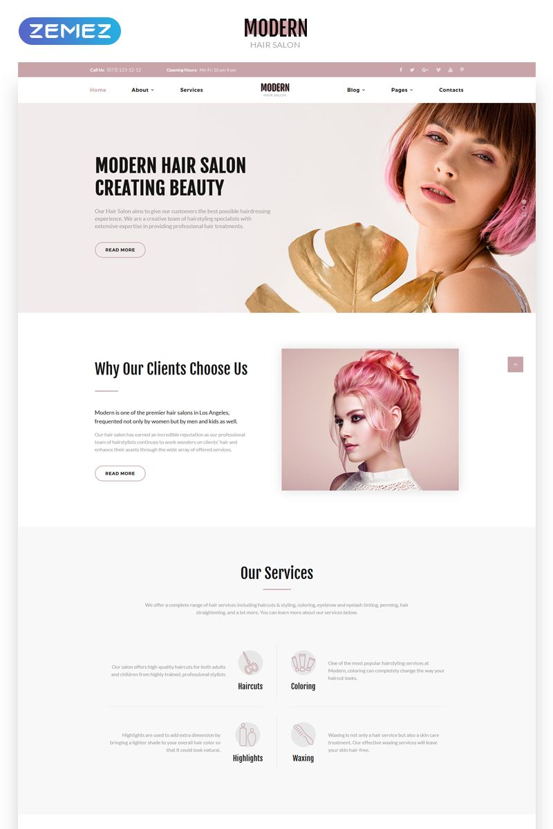 Modern - Vivid Hair Salon Multipage Website Template  Salon