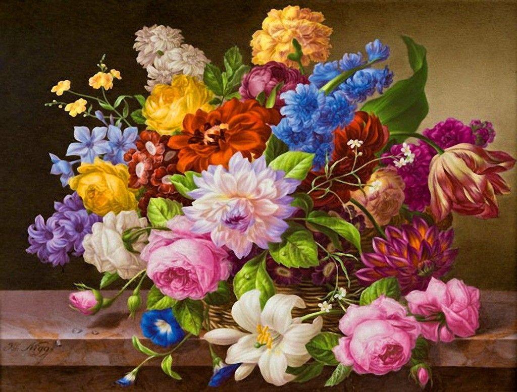 Mix Beautiful Flowers Colorful Harmony Painting Nice
