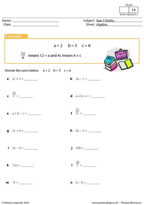 PrimaryLeapuk - Simple algebraic expressions Worksheet 5th - order of operations worksheet