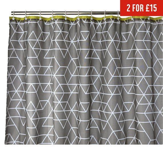 Buy Home Shower Curtain Geo Grey At Argos Co Uk Visit Argos Co Uk To Shop Online For Shower Curtains And Pole Gray Shower Curtains Shower Curtain Argos Home