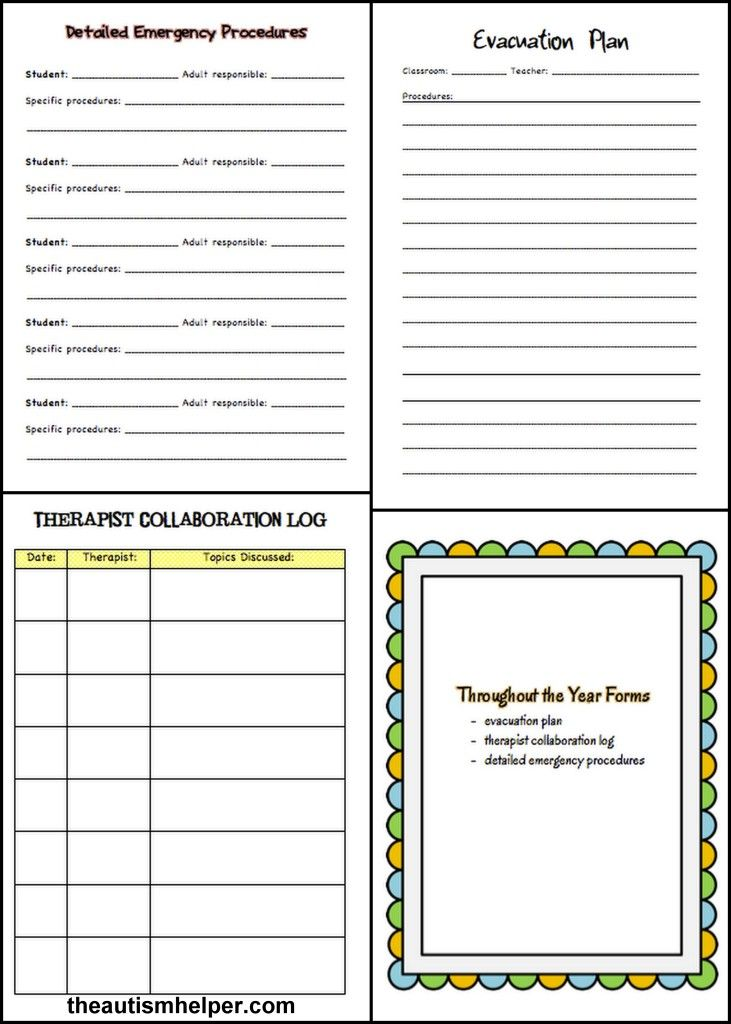 Special Education Must-Have Forms and Templates Data sheets - evacuation plan templates