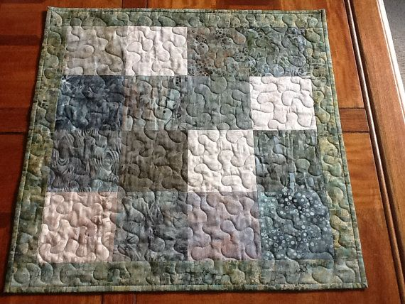 Quilted Batik Table Topper  Earth Tone Batik by Clothstitched