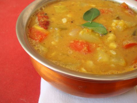 Sambar, an easy South Indian thick lentil soup that is a delight to the senses. Can you imagine relishing steaming hot sambhar on a cold winter day?