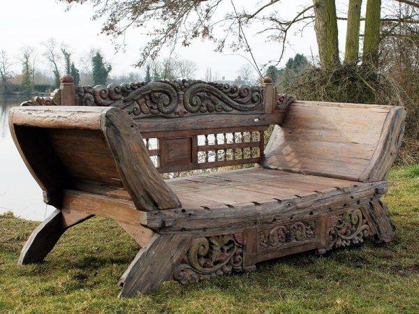 Banc Jardin Bois Style Rustique Plusieurs Ornements
