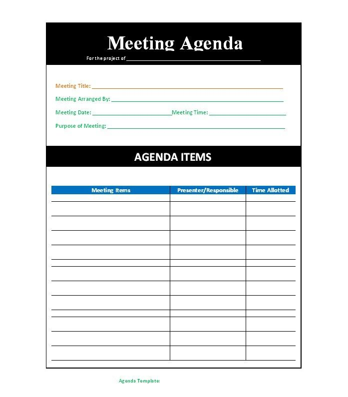 Meeting Agenda Template 41 Meeting Pinterest Template, Labs
