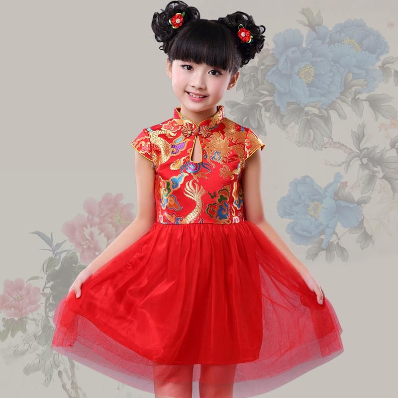 1dcabf98500e NEW red Chinese style costume traditional dress kids girl dress cheongsam  qipao dress girl party birthday performance clothes(China (Mainland))