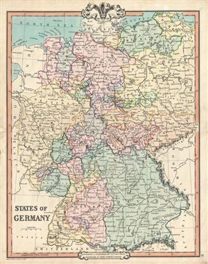 states of germany a fine example of g f cruchleys 1850 map of germany cities towns rivers mountains and other topographical features are noted
